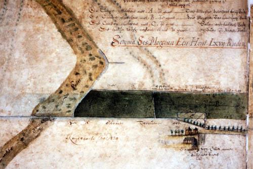 Links de Keeneloop, rechtsonder de boerderij van Claes Ariaensz., Jan Jansz. Potter, Kaartboek Weeshuis Delft, ca. 1576