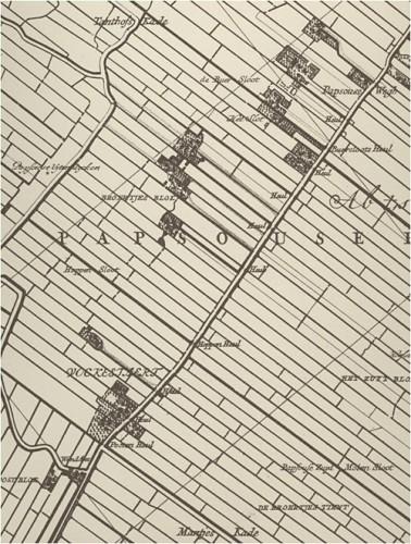 Fragment van kaart van Kruikius (1712) met in het zuiden het buurtschap Vockestaert