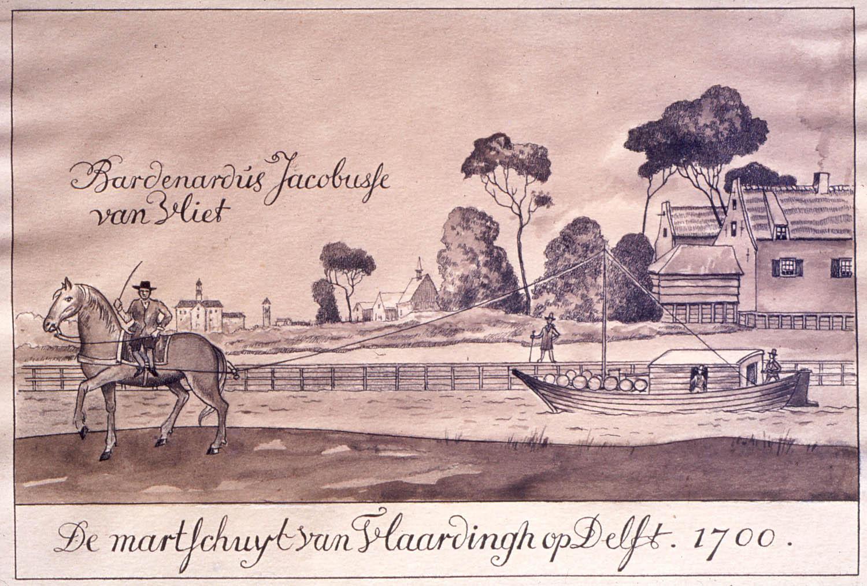 Marktschuit van Vlaardingen op Del<. Tekening van Octave de Coningh (1894-1974) naar een voorbeeld uit 1700.
