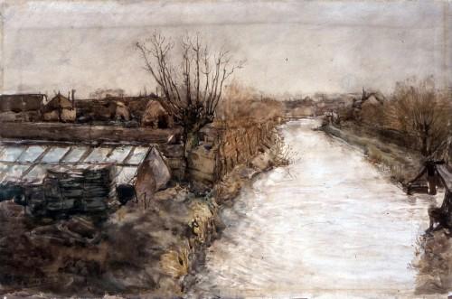 Lookwatering Den Hoorn, aquarel, Derkzen van Angeren.