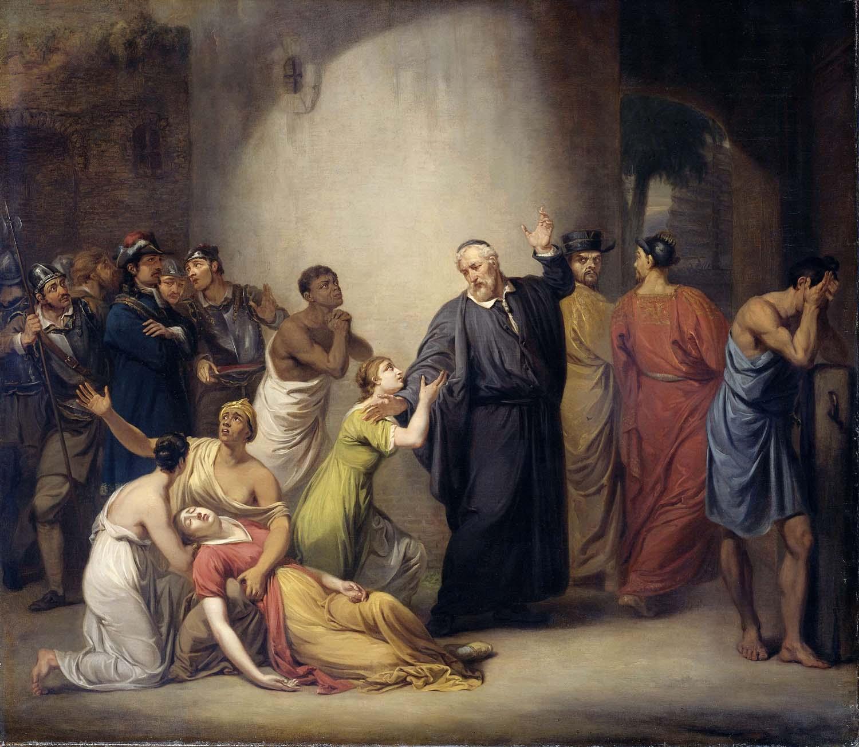 De zelfopoffering van predikant Hambrouck op Formosa 1662, Jan Willem Pieneman 1810, Rijksmuseum.