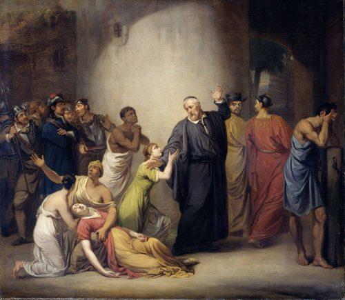 Dominee Hambrouck neemt afscheid van zijn dochters in Fort Zeelandia. Schilderij van J.W. Pieneman, 1810. Rijksmuseum Amsterdam.