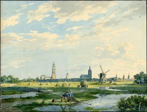 Delft vanuit het noorden, circa 1830 (Archief Delft)